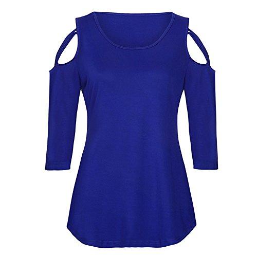 Strappy Femme ElGant Tee Sillonnent Chemisiers Quart Shoulder Shirt Chemisier Bleu Shirt Cold LULIKA Trois Tops Manches T Wg01fxxnT