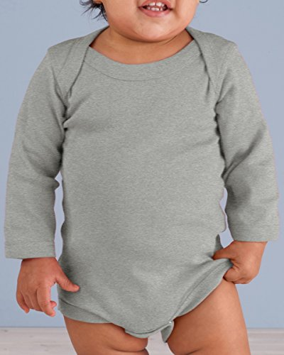 Rabbit Skins Infant Baby Rib Lap Shoulder Long Sleeve Bodysuit (Heather) (12)
