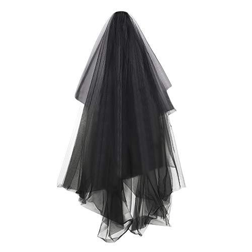 Super Long 5M 1 Tier Black Tulle Cut Edge Wedding Bridal Cathedral Veil]()