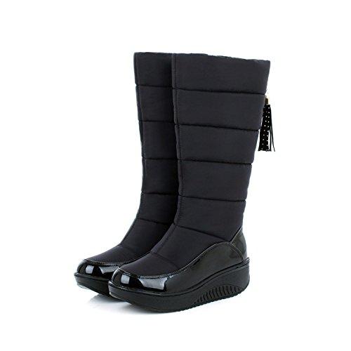 SQIAO-X- Inverno impermeabile lana spessi caldo cotone piuma Snow Boots Donna stivali, e lo studente scarpe di cotone con piatto spesso nero ,42,