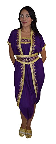 Moroccan Caftans Women Handmade Jumpsuit Exquisite Embroidery Fits Small to Large Dark Purple