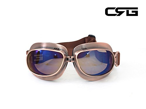 CRG Sports Vintage Aviator Pilot Style Motorcycle Cruiser Scooter Goggle T04 T04NR Multi-color lens, copper color - Aviator Goggles