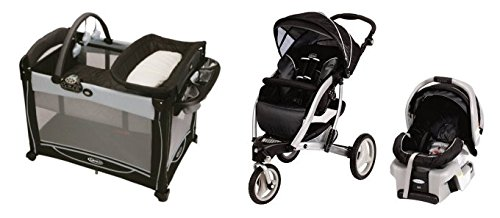 Graco Trekko Swivel Baby Stroller SnugRide 30 Car Seat Pack N Play Playard