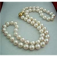 """18"""" Natural 8-9MM White Akoya Pearl Necklace 14K Clasp Jewelry AA"""