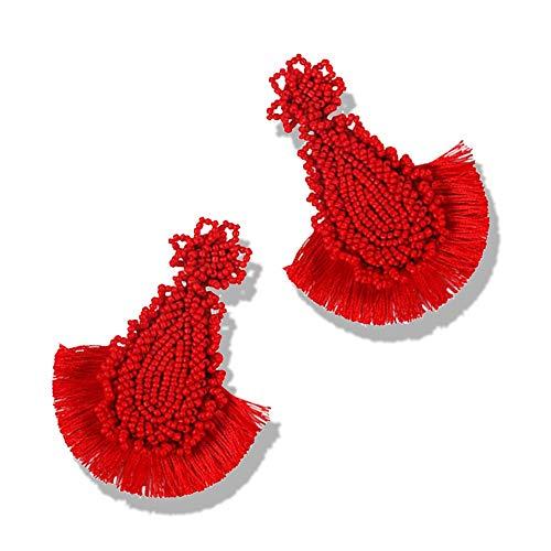 Statement Drop Earrings - Bohemian Beaded Round Dangle Earrings Gift for Women (LongTearTassel red)