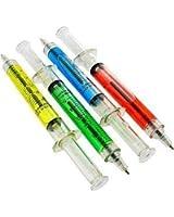 Lot Of 12 Assorted Color Syringe Shot Design Pens