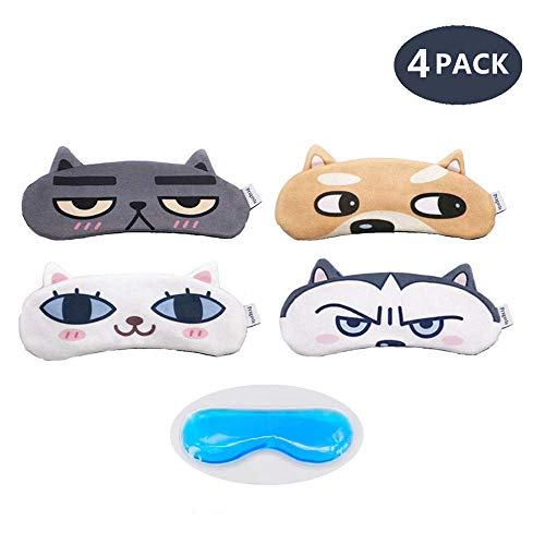 [4 PACK] MicroBird Cat&Dog Cute Sleep Eye Mask for sleeping, Super Soft and Light for Insomnia Puffy Eyes, Shift Work Blindfold Eyeshade for Men and Women kids