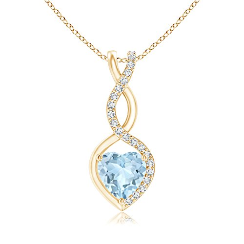 Gifts for Mom - Floating Aquamarine Infinity Heart Pendant for Women with Diamond Accents in 14K Yellow Gold (5mm Aquamarine) ()