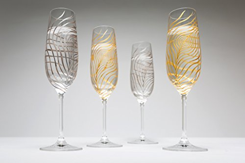 Gold or Silver Peacock Feather Wedding Toast Flutes - Set of 2 Personalized Champagne Flutes by Mary Elizabeth Arts