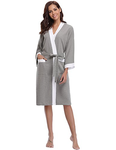 Aibrou Unisex Waffle Bathrobe Cotton Lightweight Nightgowns Sleepwear Spa Robe Grey-White ()