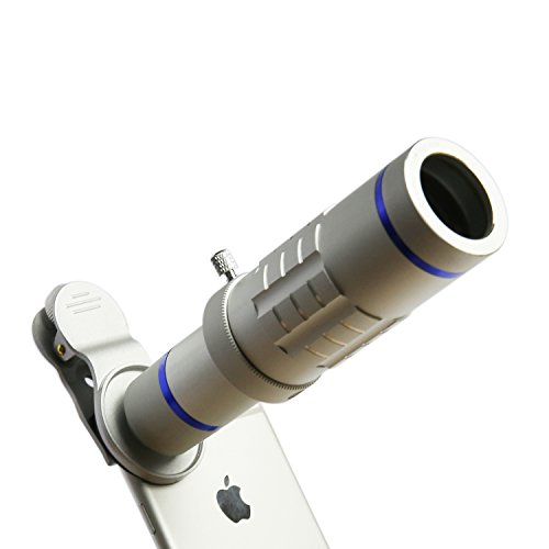 Cell Phone Lens 18X Telephoto Lens Super Wide Angle Lens Macro Lens with Mini Flexible Tripod and Universal Clip for iPhone Samsung Most Smartphone 3 in 1 Camera Kit (Silver)