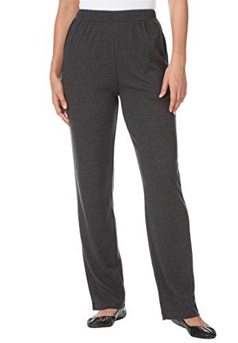 Women's Plus Size Straight Leg 7-Day Knit Pants Heather Charcoal,3X