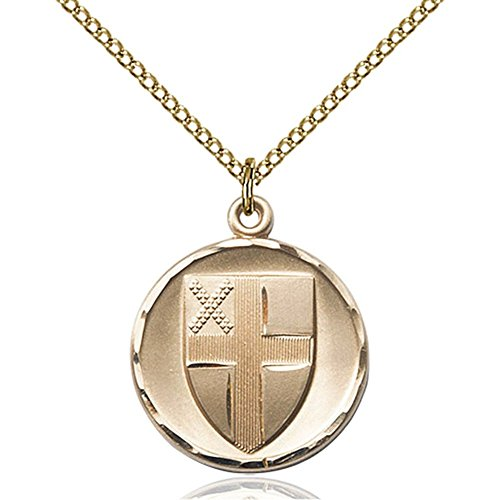 Gold Filled Women's EPISCOPAL Pendant - Includes 18 Inch Light Curb Chain - Deluxe Gift Box Included by Bonyak Jewelry Saint Medal Collection