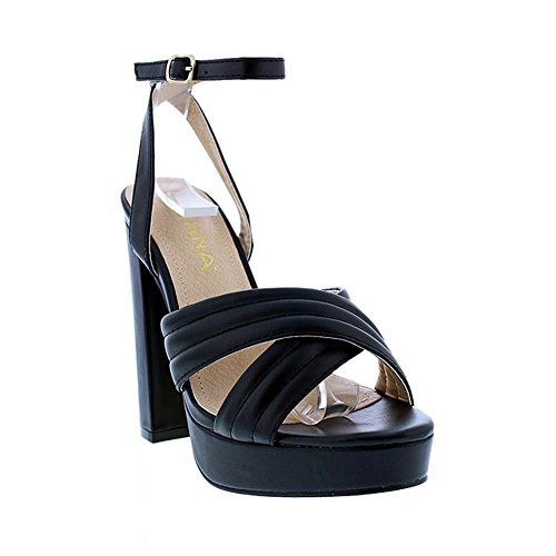 [Open Toe Platform Pump Chunky High Heels Criss Cross - Formal Party Chunky Dress Liliana Algan2(Black 9)] (Clunky Heels)