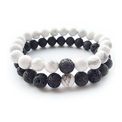 Yin And Yang Elastic Lava Stone Essential Oil Diffuser Bracelet (pack of 2)