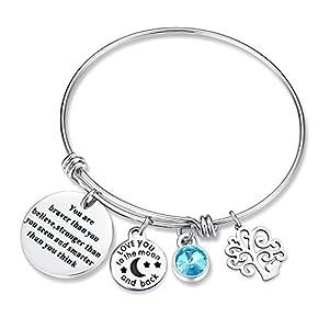 XingYue Jewelry Birthstone Charms Bangle Bracelet Family Tree of Life Charm Bracelet Expandable Wire Bracelet for Women (Birthstone charms bracelet)