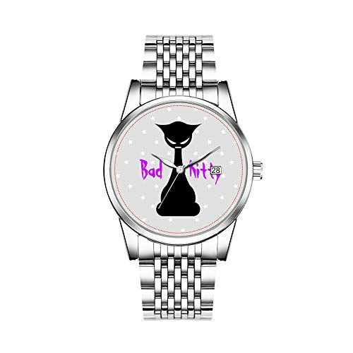 (Christmas Gift Watches Men's Fashion Japanese Quartz Date Silver Stainless Steel Bracelet Watch Bad Kitty Wrist Watch)