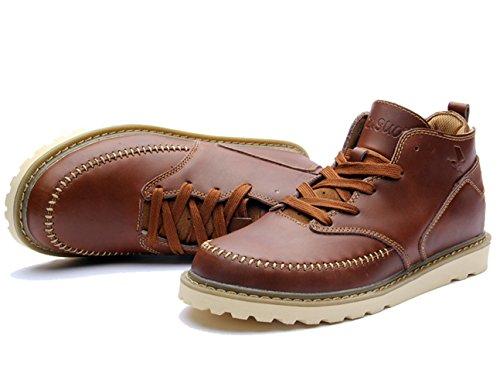 Insun Heren Lederen Laars Schoenen Roodachtig Bruin