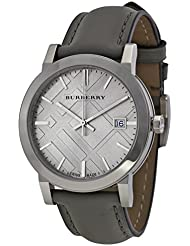 Burberry Light Grey Dial Grey Leather Ladies Watch BU9036