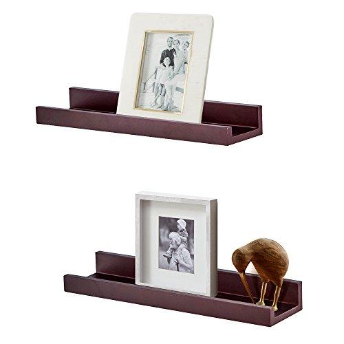 Wall Shelf Display Floating Shelves, 4-inch Deep, Set of 2 (Espresso Brown) ()