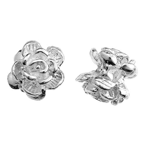 Dreambell 4 pcs .925 Sterling Silver Rose Flower Spacer Beads 6mm / Findings/Bright
