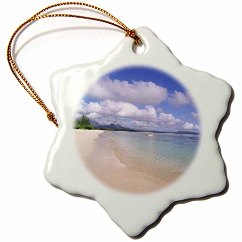 3dRose orn_89635_1 Waimanalo Beach, Oahu, Hawaii, USA - US12 DPB0744 - Douglas Peebles - Snowflake Ornament, Porcelain, 3-Inch by 3dRose