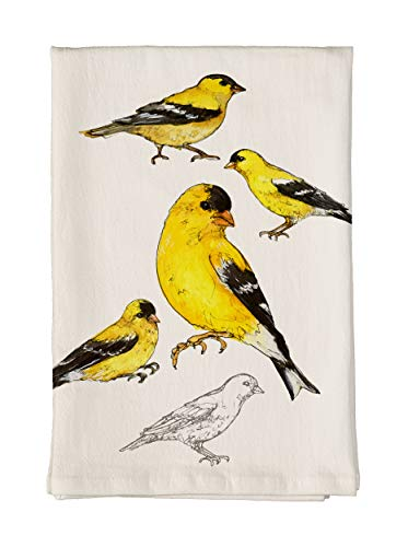 Studio M Field Guide American Goldfinch Soft, Absorbent Flour Sack Tea Towel, 100% Cotton, Artistic Nature Sketch, 26 x 26 ()