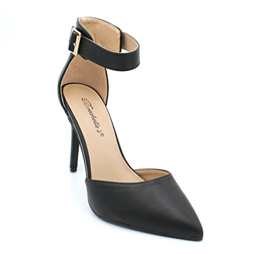 Breckelles+Womens+Ankle+Strap+Pointy+Toe+Heels%2C+Trendy+Shoes+Isabel-61+Black+Size+8