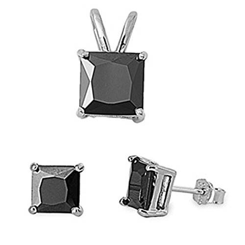 Princess Cut Simulated Gemstone Pendant & Earring .925 Sterling Silver Solitaire Set (Simulated Black - Earrings Gems Simulated