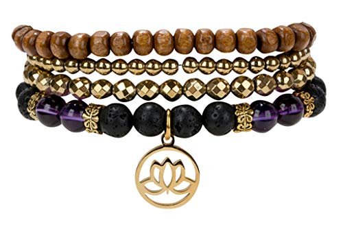 SPUNKYsoul Lotus New Beginnings Bracelet Hematite Amethyst and Lava for Healing Stack Bracelet Set Collection