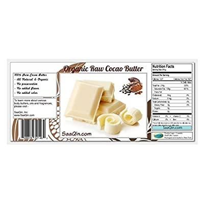 2 Lb Cocoa Butter: Pure, Raw, Unprocessed. Incredible Quality and Scent. Use for Lotion, Cream, Lip Balm, Oil, Stick, or Body Butter. NON-GMO By SaaQin