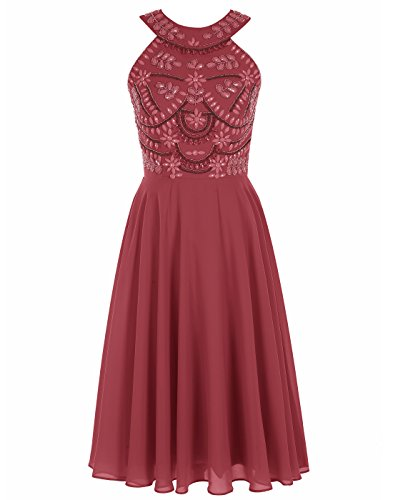 Dress Neck Dress Dark Prom Round ALAGIRLS Red Short Beading Homecoming xagOBO