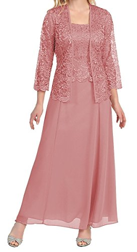 8113912ea4 ... Bride Dresses MenaliaDress Long Chiffon Two Piece Set Mother Of Groom  Dress With Lace Jacket M108LF Blush US2.   