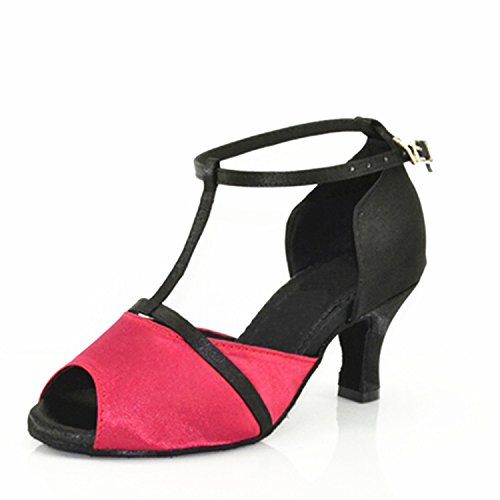 Red Toe Peep Chunky Dance Tango Shoes W1105 Shoesland Latin Salsa Ballroom Dance Women's Heel qtRBwnxOE