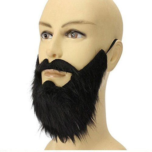 [ViewHuge Black Beard Halloween Party Dress Theatrical Prop Cos Tricky Masquerade Fancy Pirate Dwarf Elf Costume Fake Beards Mustache] (False Beards And Moustaches)