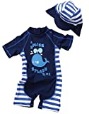 BANGELY Kids Baby Boy Summer Long Sleeve One Piece Rashguard Swimsuit Sun Protection Swimwear Size 9-12 Months (Dark Blue2)