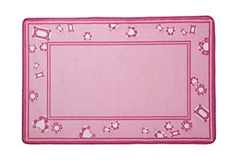 Delta Children Soft Kids Area Rug (2.5 foot x 4 foot) Girls Pink Princess and Jewels (Big Circle White Fur Rug)