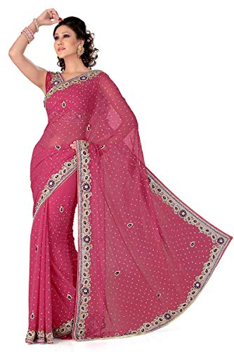 Designer Ethnic Saree Pink Chiffon Indian Wear TSqRw7C