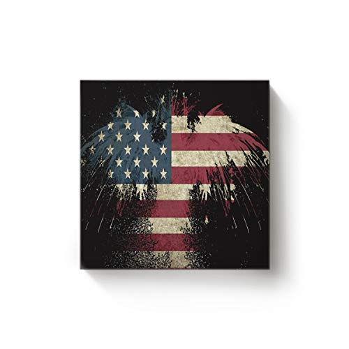 EZON-CH Square Canvas Wall Art Oil Painting Christmas Office Home Decor,The Flag of American Eagle Printed Artworks,Stretched by Wooden Frame,Ready to Hang,20 x 20 Inch