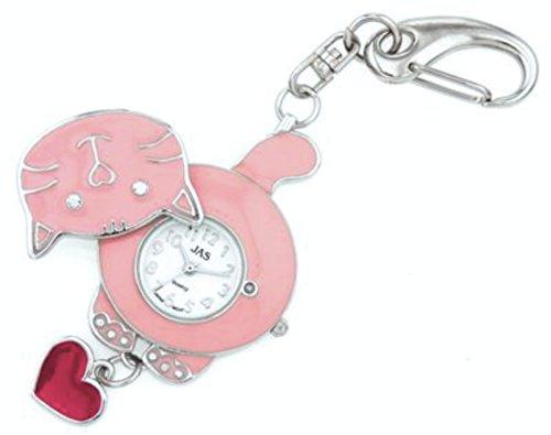 JAS Unisex Novelty Belt Fob/Keychain Watch Pink Cat Silver Tone