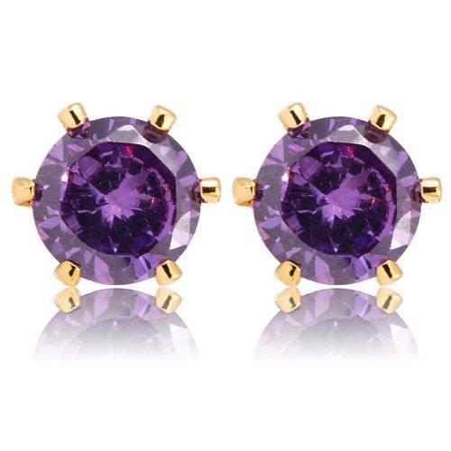 Rizilia Jewelry Gold Plated Heart Cut Purple Color Stone Stud Earrings