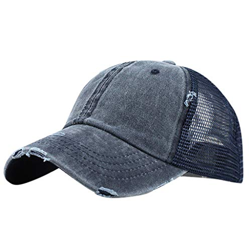 Ponytail Messy Buns Trucker Plain Baseball Visor Cap Unisex Hat Ideal for Gardening, Beach Travels Navy (Pony Floral Ball)
