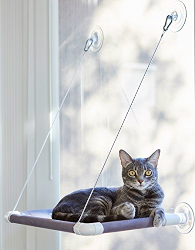 Cat Window Perch Bed | Kitty Window Bed Hammock | 50lbs Suction Cups Cat Bed| Elegant Window Sill Cat Bed | Best Cat Climber Shelve with Stainless Steel Cables and Soft Rubber Protection