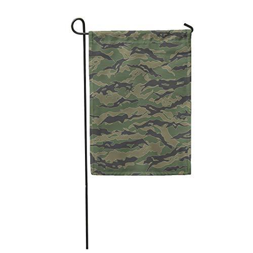 Semtomn Garden Flag Green Camo Classic Tiger Stripe Camouflage Patterns Khaki Airforce 28