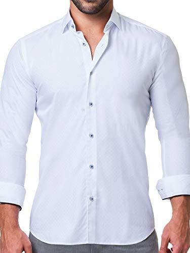 Maceoo Mens Designer Dress Shirt - Stylish & Trendy - Fibonacci Sparkle White - Tailored Fit (Collar Italian Shirt Cotton Dress)