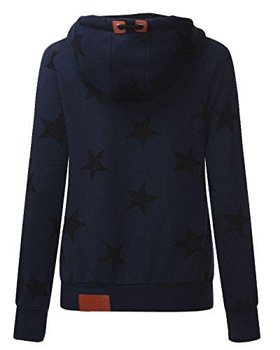Auxo Mujeres Sudaderas Pullover con Capucha del Invierno Manga Larga Estampado Estrellas Azul oscuro1