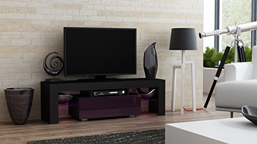 """Price comparison product image TV Stand MILANO 130 / Modern LED TV Cabinet / Living Room Furniture / Tv Console fit for up to 55"""" flat TV screens / Capacity Tv Console for Modern Living Room (Black & Purple)"""