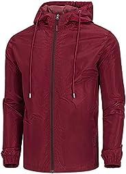 WULFUL Men's Lightweight Windbreaker Jacket Waterproof Hooded Outdoor Jackets Casual Out
