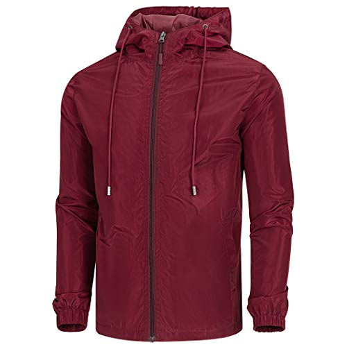 WULFUL Men's Lightweight Windbreaker Jacket Waterproof Hooded Outdoor Jackets Rain Jacket Coats Dark Red
