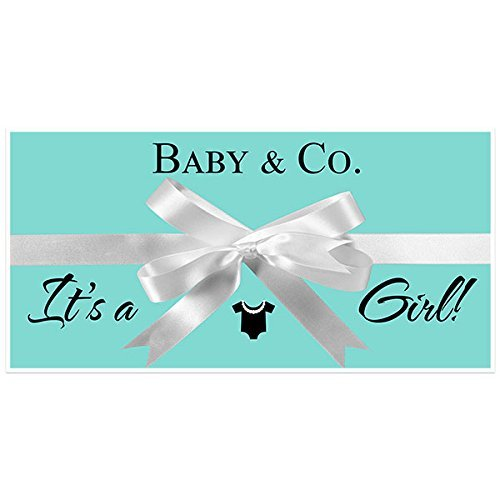 Tiffany Blue It's a Girl Baby Shower Banner Personalized Custom Party Backdrop - Baby And Co Tiffany